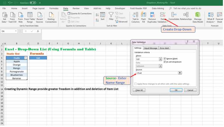 Create a Dynamic Drop-Down using Named Range Excel