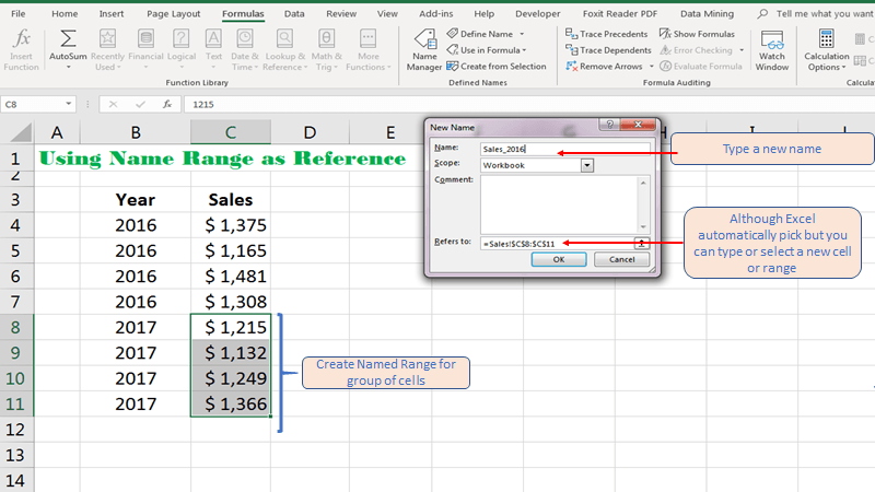 Creating Named Range for a Cell or Range in Excel - ExcelNumber