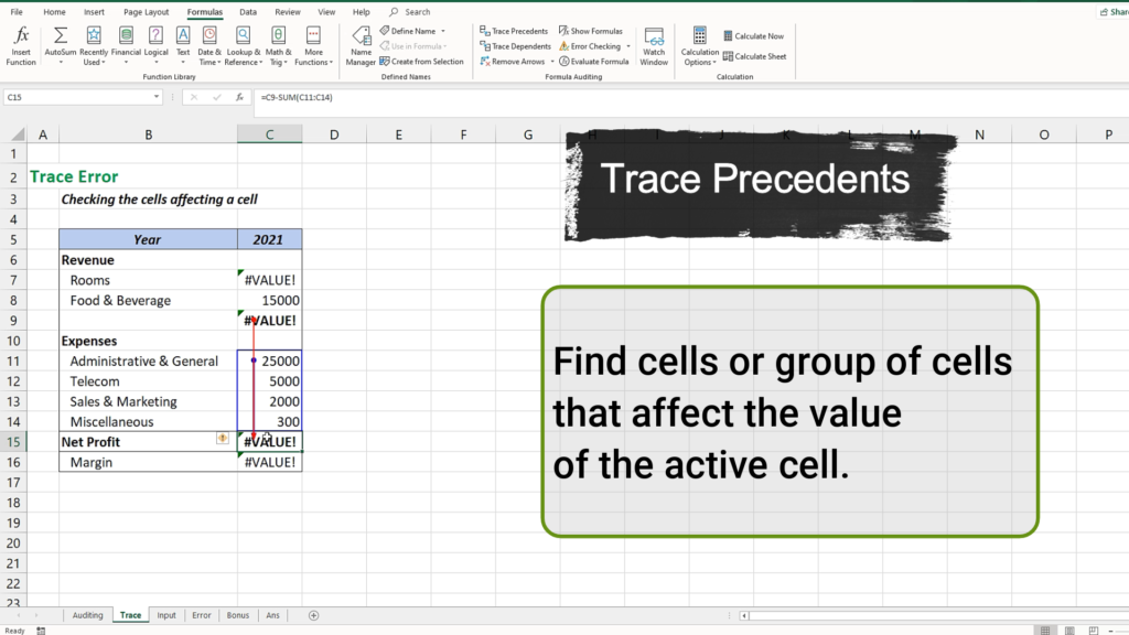 Trace Precedents is to find the cell or group of cells that affect the active cell's value.
