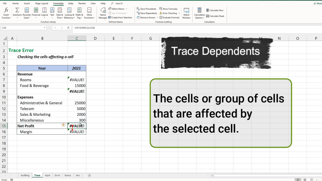 The Trace Dependents is to know which cell this set is affecting.