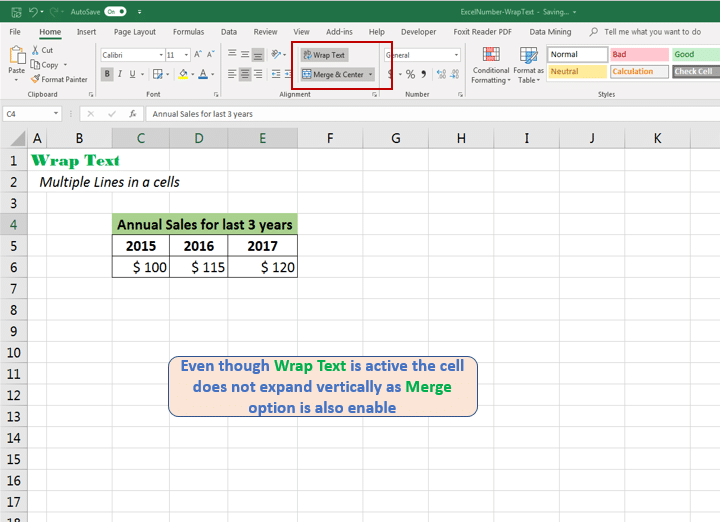 Disable Merge option to fit text within a cell Excel