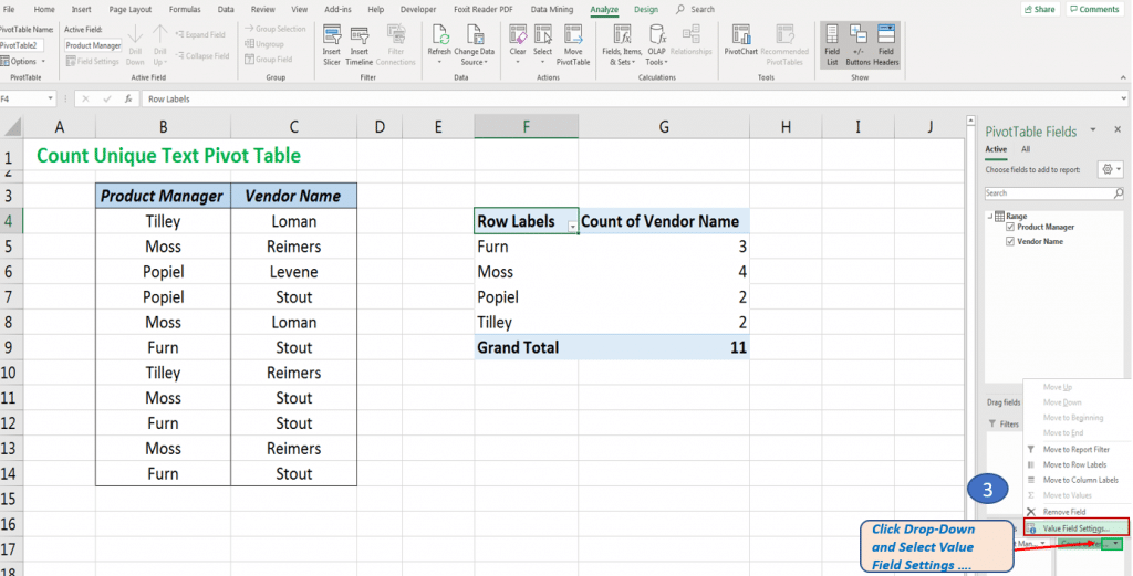 Count using Pivot Table and Select Value Field Settings