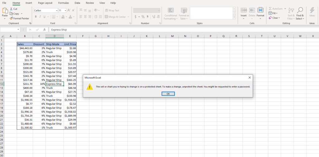 If you try to edit protected sheet you get warning.