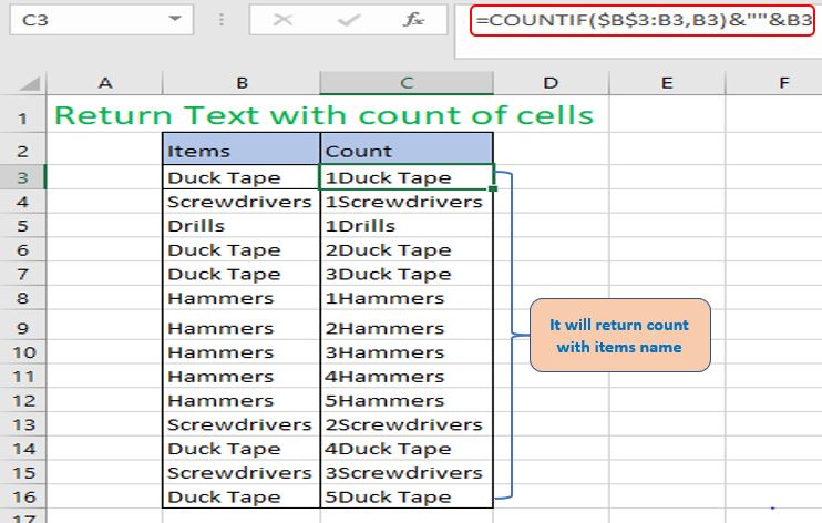 Return count with name of Items.