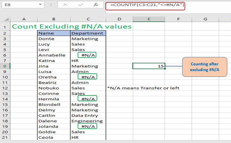 Counting after excluding #N/A value