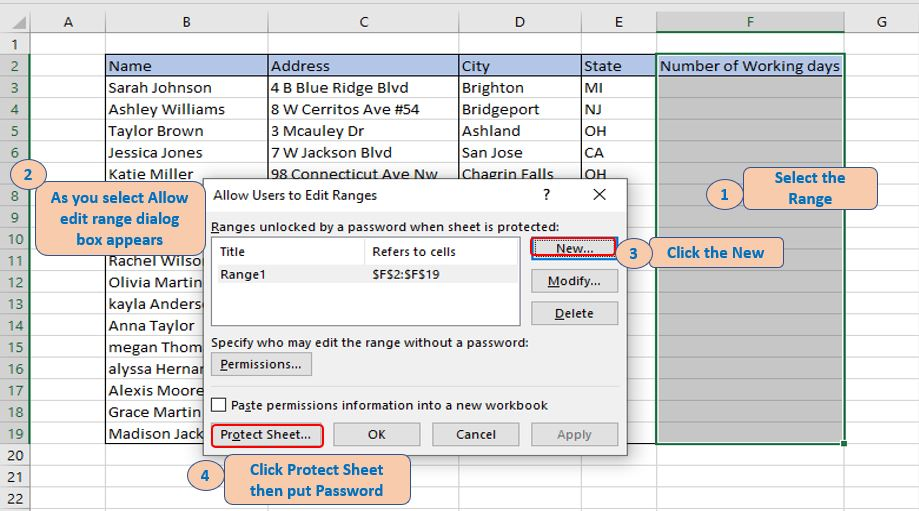 Protect sheet but give permission to edit selected Range.